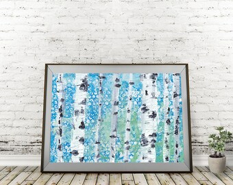 Speckled Trees Acrylic Birch Tree Forest Painting or 300gsm Giclee Print 14x12