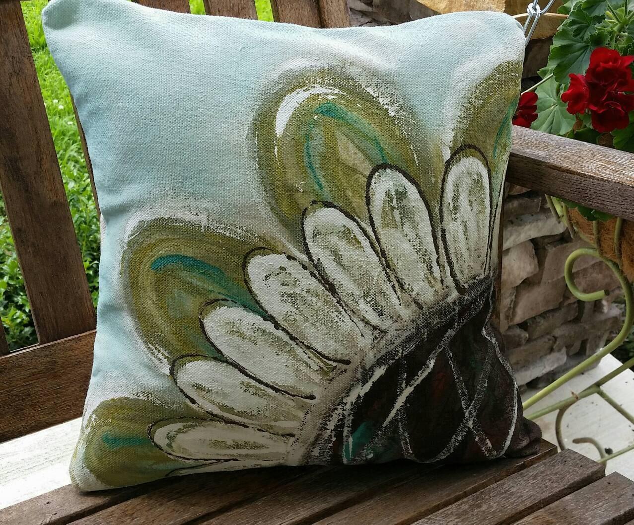 New Flower Sage Blue Indoor Outdoor Cushions