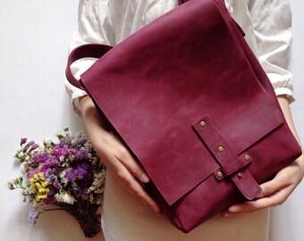 Wine Leather Messenger Bag, Men's Leather Bag, Full Grain Leather, Violet-Wine Velvet Bag, Cross Body Bag, Shoulder Bag, For Men, A4 Format