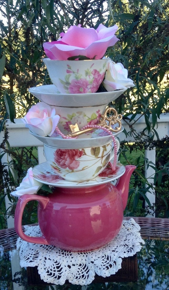 Rose pink teapot floral teacup centerpiece by edieschiccrafts