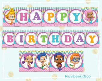 Bubble alphabet etsy - Bubble guppies birthday banner template ...