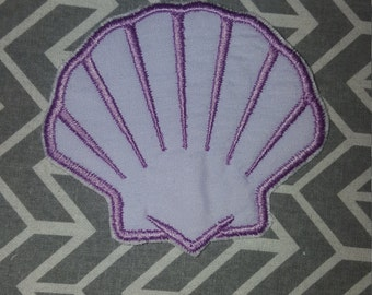 Purple  Sea Shell Clam Shell Iron on No Sew Embroidered Patch Applique