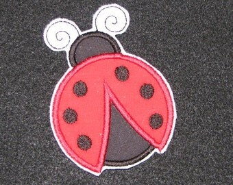 Red and Black Lady Bug  Iron on No Sew Embroidered Patch Applique