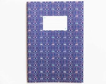 Cahier motif IKAT fond bleu
