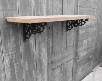 Pine Scaffold Board Shelf - Cherub Cast Iron Brackets