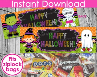 Kids HALLOWEEN Treat Bag Toppers INSTANT DOWNLOAD, Halloween Bag Toppers, Halloween Printables Chalkboard Toppers, Halloween Candy Party