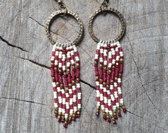 Hoop Seed Bead Earrings, Native American Inspired Earrings, Fringe Earrings, Southwestern Seed Bead Earrings, Boho Earrings