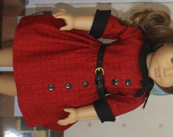 American Girl Style Side Tie Collar Dress in Red and Black
