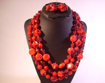 Red Chunky Triple Strand Necklace and Clip On Earrings Set