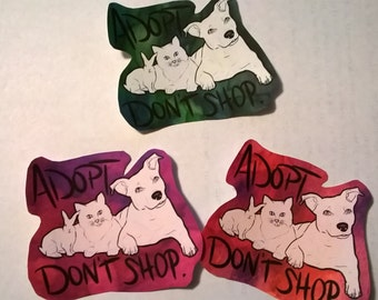 Adopt Don't Shop Watercolor Sticker