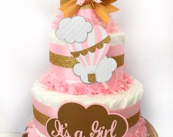 READY TO SHIP Hot Air Balloon Diaper Cake, Up Up and Away Baby Shower Decoration, Girl Diaper Cakes