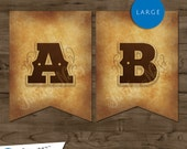 Large Western Themed Banner :  Printable Banner All Letters 0-9 numbers, Bonus Extras