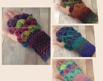 Fingerless gloves-Fingerless dragon gloves-fingerless-Dragon fingerless gloves -Crocodile stitch gloves-Dragon scale fingerless gloves-glove