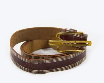 Retro Cool Leather Belt, Burgundy White Plaid Design Belt, Solid Brass Buckled Leather Belt