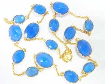 """32"""" Blue Chalcedony Bezel Set Necklace with Gold Plated Over Sterling Silver"""