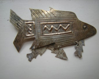 fish brooch-fish pin-hanging fish charms-mexican silver-folk design-fisher woman?-