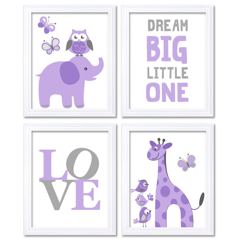 Purple Grey Elephant Giraffe Owl Nursery Art Dream Big Little One LOVE Set of 4 Prints Child Art Kid