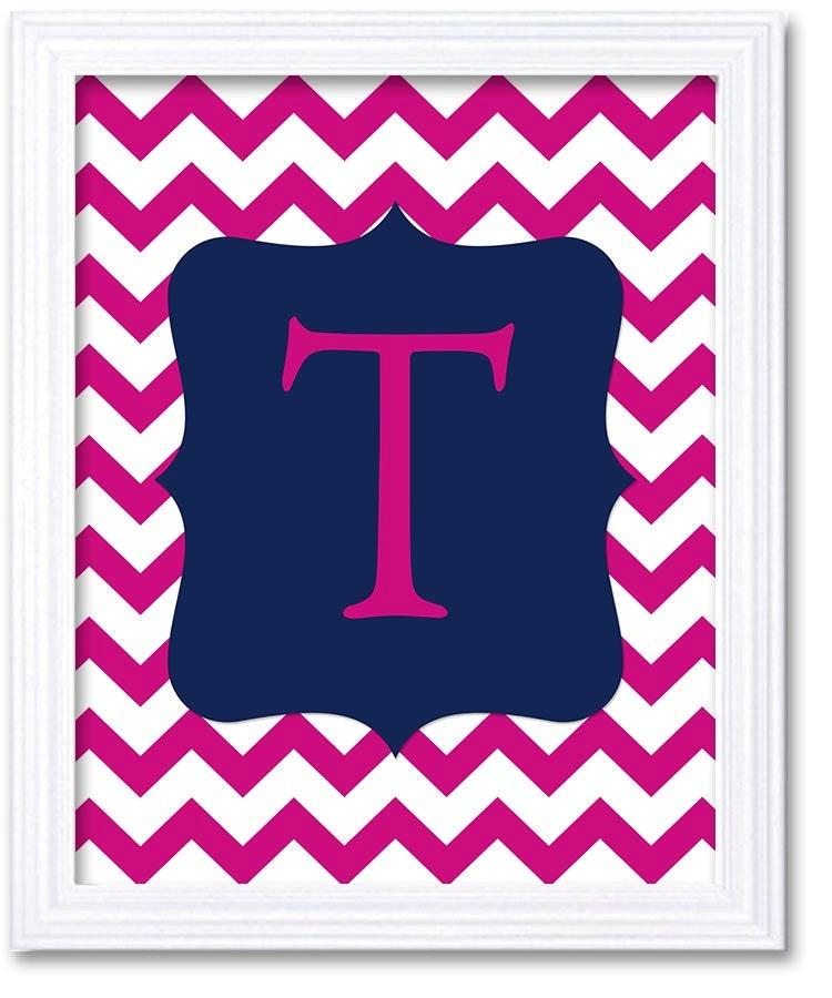 Custom Letter Monogram Nursery Art Chevron Navy Blue Pink Nursery Art Print Decor Child Baby Girl Ar