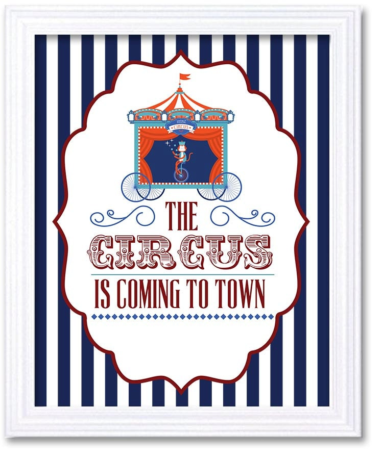 Navy Blue Red The Circus is Coming to Town Nursery Art Old Carnival Nursery Print Child Baby Art Vin