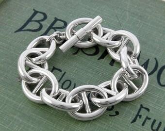 Chunky Bracelet, Silver Bracelet, Statement Jewelry, Silver Chain Bracelet, Thick Chain, Sterling Silver, Bracelet, Bangle Bracelet, Chain