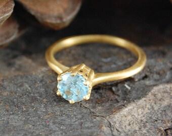 Blue Topaz Ring, Gold Ring, Blue Gemstone, Gold Aqua Ring, Unique Engagement Ring, Blue Topaz, Topaz Ring,Handmade Ring,Gold Blue Topaz Ring