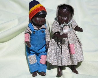 Black Twin Boy and Girl Dolls