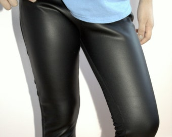 Toddler Leather Leggings Kids Black Leggings 5T-8T Girls Faux Leather Pants Vegan Leather