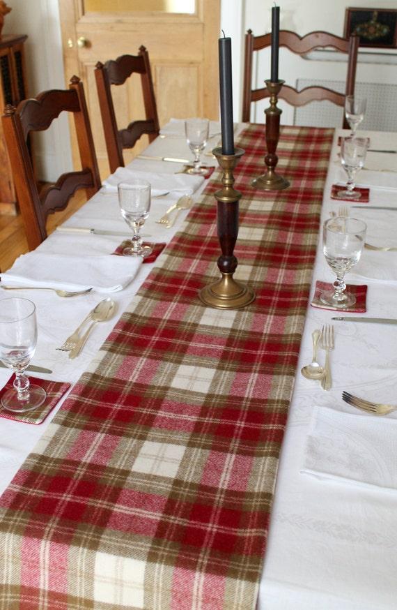 Christmas Table Runner in Red Check Tartan Tweed Table