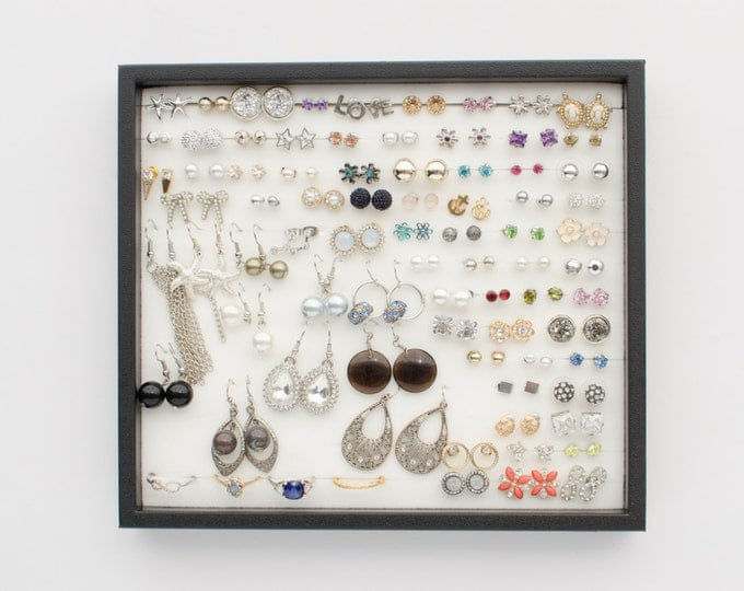 Jewelry Tray Organizer - Black Frame - Earring Storage