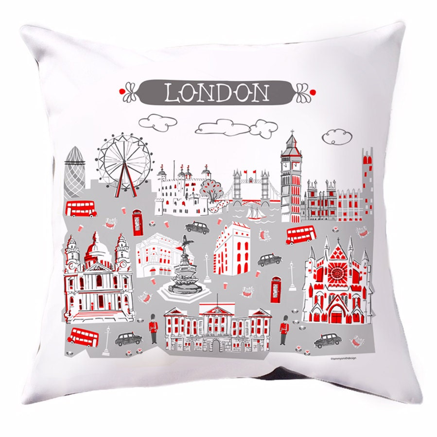 London pillow home decor home goods red dk grey grey 16 x for Home accessories london