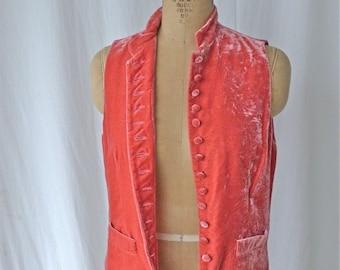 Ralph Lauren Pink Silk Velvet Vest