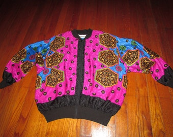 Vintage Abstract Mulit Color Bright print satin womens full zip jacket beautiful small / medium