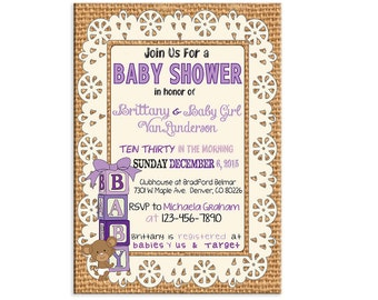 Custom Printable Baby Shower Invitation  Baby Shower Invitation