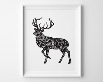 Christmas Print, Christmas Decor, Santas Reindeer Print, Black and White Kids Room Decor, Rudolph Print, Reindeer Silhouette Playroom Decor