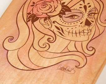 Alt Roots Sugar Skull Kicktail Skateboard