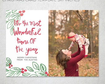 Christmas Card Templates for Photographers, Modern Photography Template, Holiday, Families, instant download