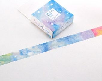 Watercolor Washi Tape - 10 metres washi tape - Decorative Paper Tape - Giftwrap tape - Scrapbooking tape -Pastel Printed Masking Tape