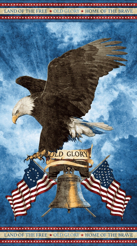 Patriotic Eagle Panel Liberty Bell Stonehenge Old Glory