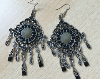 Dangling earrings with rhinestones
