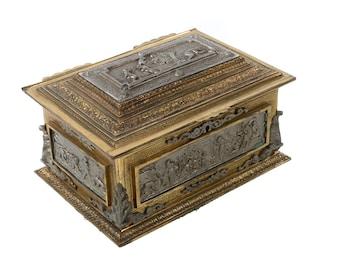 Antique Bronze & Mix metals Jewlery Box w/Allegoric side Panels c.1900s