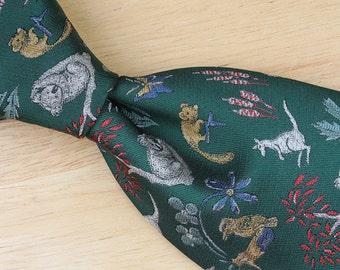 Green Animal Pattern Mens Neck Tie - Sunshine Ties Whimsical Australian Polyester Necktie