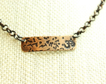 Hammered and stamped copper pendant & copper chain unique handmade jewelry