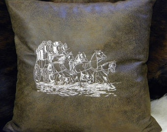 Western Decor, Stage Coach Pillow, Decorative Pillow, Western Pillow, Embroidered Pillow, Brown Pillow, Faux Leather Pillow