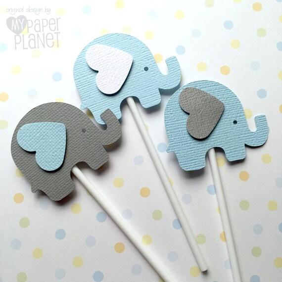 Elephant Cupcake Toppers En Blanco Azul Y Gris Ducha De Beb
