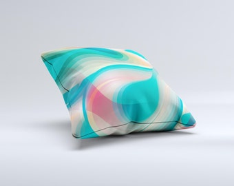 The Vivid Turquoise 3D Wave Pattern ink-Fuzed Decorative Throw Pillow