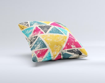 The Chipped Colorful Retro Triangles ink-Fuzed Decorative Throw Pillow