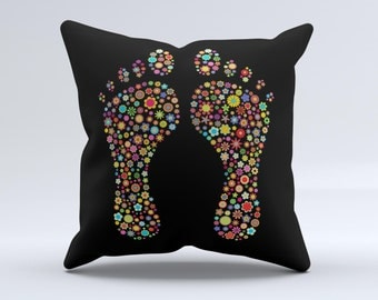 The Vector Floral Feet Icon Collage ink-Fuzed Decorative Throw Pillow