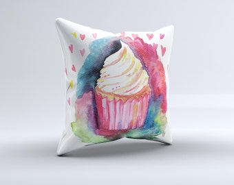 The Love, Cupcakes, and Watercolor ink-Fuzed Decorative Throw Pillow