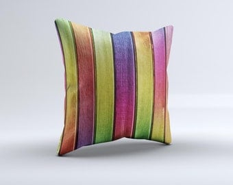 Colorful Vivid Wood Planks ink-Fuzed Decorative Throw Pillow