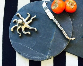 Octopus Black Slate Serving Trays with Tentacle Knives & Choice of Shape.